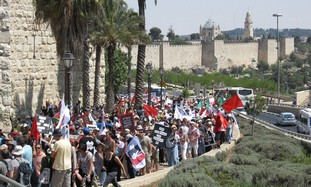 Some of the marchers in Jerusalem yesterday
