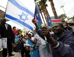 South Sudanese in Tel Aviv celebrating yesterday by waving Israeli and South Sudanese flags