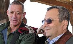 Defense Minister Ehud Barak (with sunglasses) accompanied by his lapdog Chief of Staff Benny Gantz