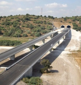 Part of the Trans-Israel Highway 6. This picture may not seem remarkable--but in a country with few highway bridges and tunnels, it is.