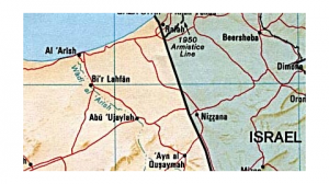 Map of northeastern Sinai--adjacent to the Mediterranean Sea. Note Al Arish, the Rafah crossing to Gaza, the southern end of the 1949-50 Armistice Line that separates Gaza from Israel, the Egyptian-Israeli border, and the proximity of Israeli cities Nizzen and Beersheva to Egypt.