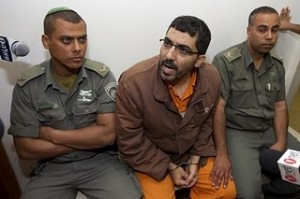 An apparently unhappy Dirar Abu Sisi in Israeli court