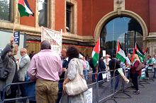 Anti-Israel protestors outside Royal Albert Hall in London yesterday trying to stop concert-goers from entering