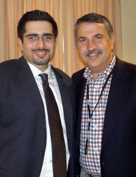 Thomas Friedman (right) with another prolific anti-Israel writer, Faisal Abbas.