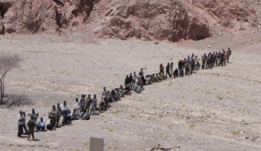 Illegal immigrants/infiltrators after crossing the Israeli-Egyptian border in the Sinai