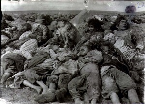 Armenian women and children massacred by Turkish 'soldiers'.