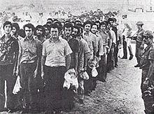 Greek Cypriots being taken to Turkish prison camps in Adana, Turkey.