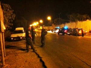Ashdod police last night cordoning off an area near where the Grad struck.