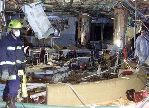 The scene of devastation at the Park Hotel in Netanya on March 27, 2003. Thirty Israeli men, women, and children were blown to pieces by a Hamas suicide bomber as they celebrated the Pasover seder. 140 more were seriously injured.