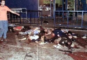 Israeli young people brutally slaughtered as they stood in line at the Tel Aviv Dophinarium nightclub on June 1, 2001. 21 teenagers were killed and 132 more were critically injured. The terrorist who planned the bombing is among those being released for Gilad Shalit.