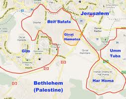 A map showing the location of Givat Hamatos, a new Jerusalem neighborhood to be constructed between Gilo and Har Homa.