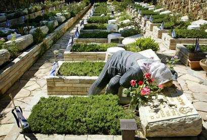 A mother's love at the military cemetery on Mt. Herzl.