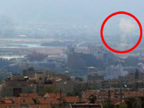 The red circle shows the point of explosive impact in Eilat (photo courtesy of Walla).