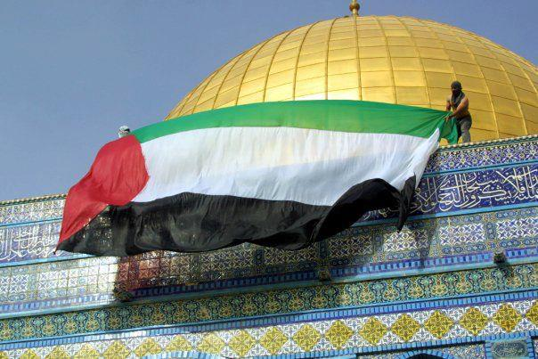 Jews are ruthlessly searched for possibly carrrying pocket-sized Israeli flags up to the Temple Mount. Yet the same Jerusalem police ignore the Palestinians when they hang flags like these on the Temple Mount--Judaism's holiest places.