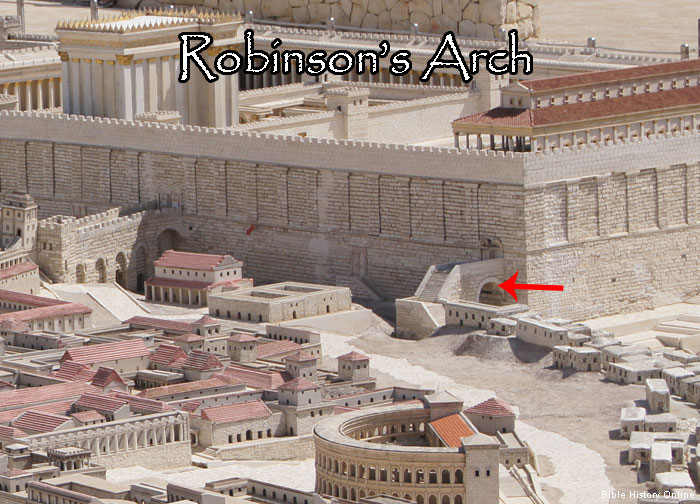 "Note the red arrow--the location of ""Robinson's Arch"" in this artist's rendering of the the 2nd Jewish Temple."