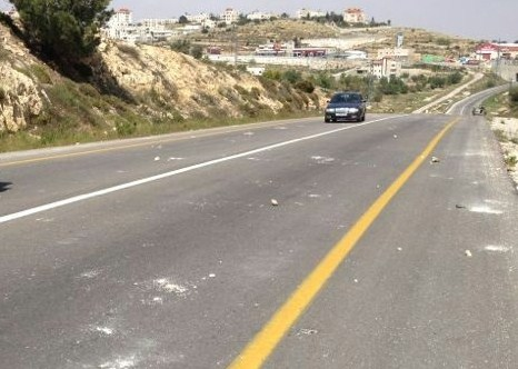 Note a Samarian road littered with smashed rocks this morning.