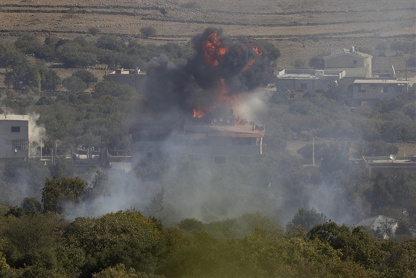 This explosion just across the Israel border have become an hourly occurrence as Syrian Al-Qaeda rebels battle for control of the region.