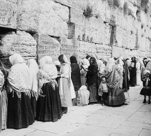 Women praying at the Kotel (Western Wall) in the 1800s.