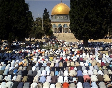 Muslims prostate in prayer on the Temple Mount--the holiest place in Judaism. Ludicrously, Jews are not permitted to pray on the Mount.