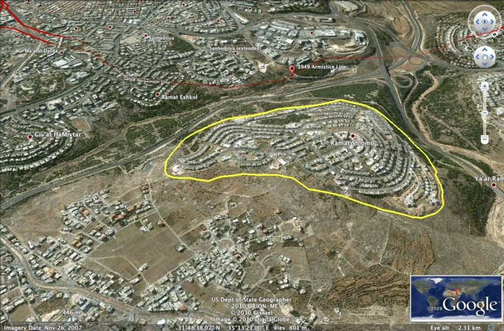 A google aerial view of Ramat Shlomo.