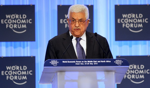 Mahmoud Abbas, the head of the PLO, speaking at the Economic Forum today.