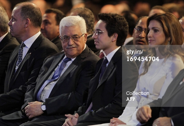 In this picture from Getty Images, we see right to left: Queen Rania (the Palestinian wife of King Abdullah of  Jordan), Prince Hussein her son, and Mahmoud Abbas.