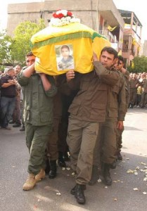 A dead Hezbollah terrorist's funeral this morning in southern Lebanon.