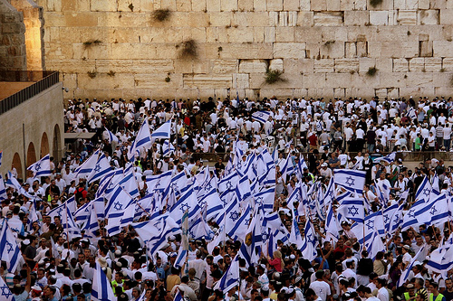 A sea of flags at the Kotel.