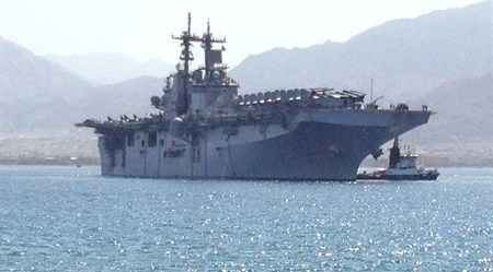 The USS Kearsage, currently docked in Eilat.