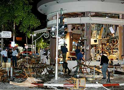 My Cafe in Tel Aviv after the Palestinian terrorist blew it up on March 30, 2002.