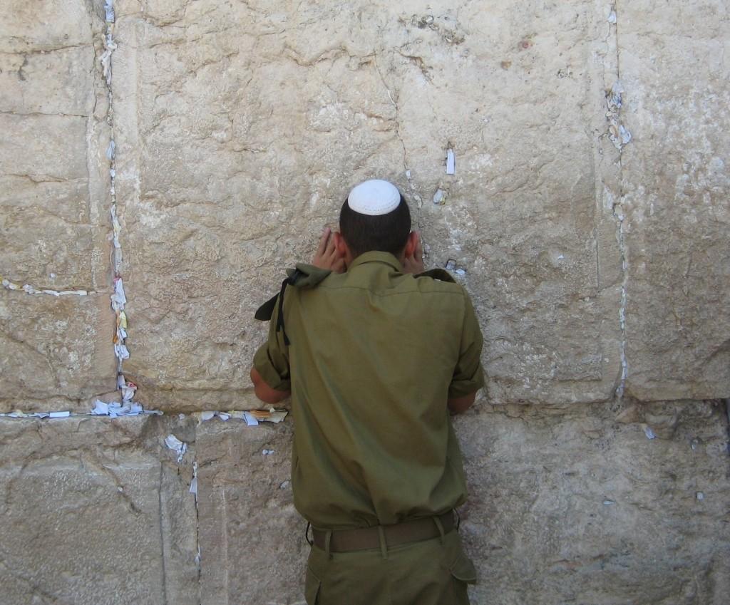 A soldier in prayer . . .