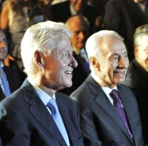 Shimon Peres and his $500,000 friend in Rehovot last night.