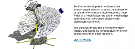 Saving the world by supplying drinking water to billions--the SunDWater system..