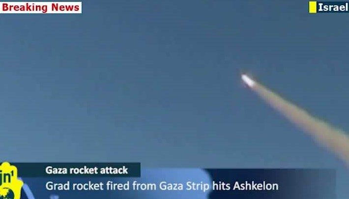 The scene this morning over Ashekon as a volley of Grad rockets fired by Palestinian terrorists in Gaza hit the city (photo courtesy of DiscloseTV).