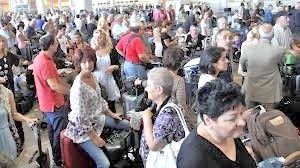The scene at Ben Gurion airport in Tel Aviv--packed every hour of every day.