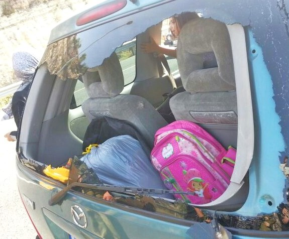 "Another ""rock"" attack on an Israeli motorist yesterday."
