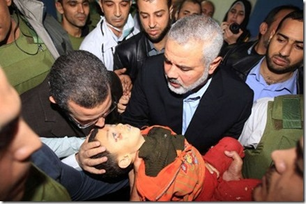 Remember this tragic picture of the Palestinian child killed by a rocket last November? Of course, it turns out that it was a Hamas rocket.