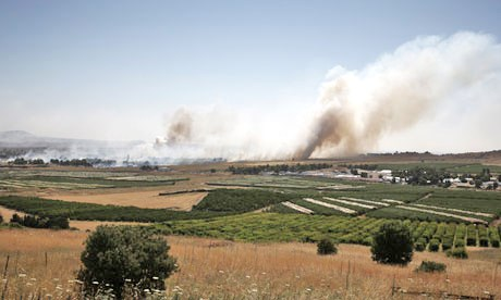 The scene in Quneitra this morning as viewed from across the border on the Israeli Golan Heights.