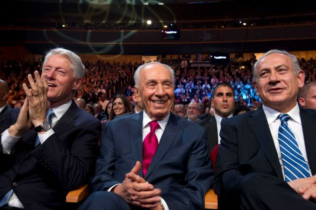 Moe, Curly, and Larry: the three stooges at the party two nights ago. Peres even had tickets printed up for the event with a map of Israel with 1949 Armistice Lines borders on the back.