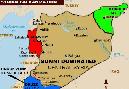 "Note how tiny the Alawite section (the base of Assad's power) actually is. Remember that ""Sunni-Dominated"" means that about 20% of the population is Shi'ite."