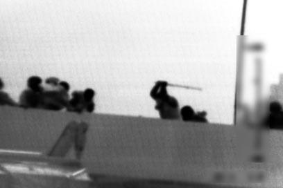 IHH Turkish terrorist beating an IDF soldier witha metal pipe on board the Mavi Marmara (photo: IDF spokesman's office).
