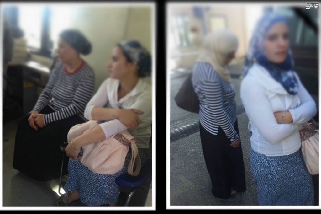 A person on the bus took these pictures: on the right before the women boarded the bus, on the left afterwards.