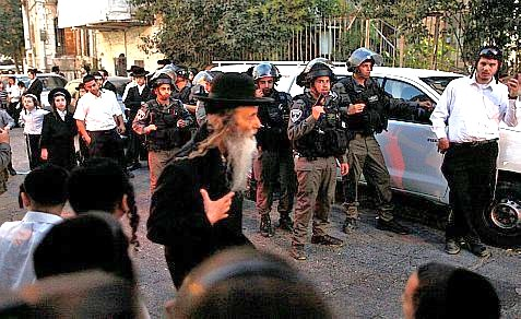 Part of the incident in Mea Shearim last night.