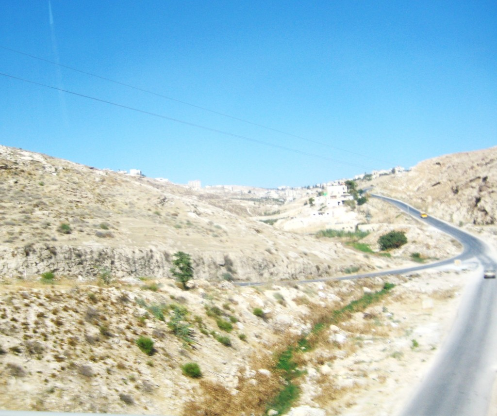 Note that this road is open to Palestinian and Israeli vehicles.