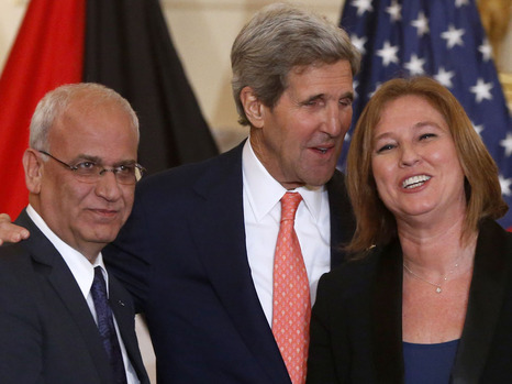 Saeb Erekat, John Kerry, and Tzipi Livni laughing it up in Washington yesterday. Who knows what Livni and Netanyahu have already given away? (picture source: Associated Press).