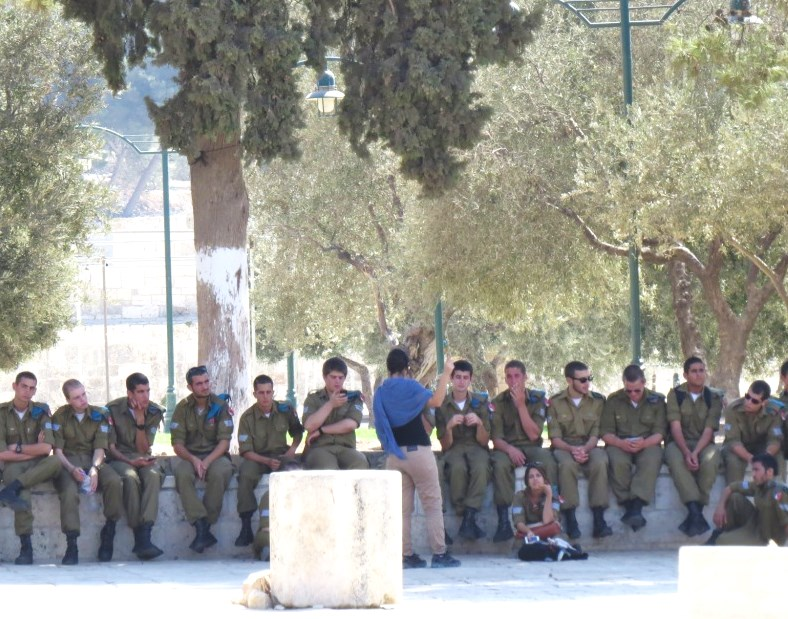 Israeli soldiers on the Temple Mount. Now there is a novel idea. How dare Israel exert its sovereign rights?