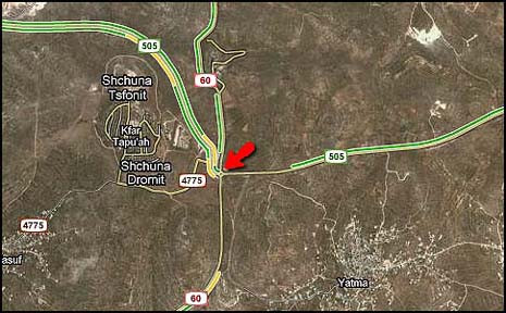 Tzomet Tapuach (the Apple Junction). Note that this junction is at the intersection Route 60,   (picture source: jewishpress)