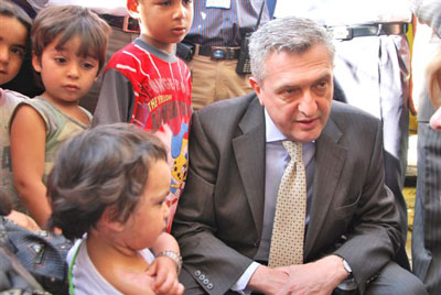 "Filippo Grandi with the latest group of Palestinian ""refugees""."