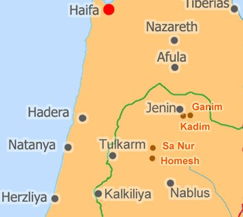Northern Samaria. Note the location of Homesh.