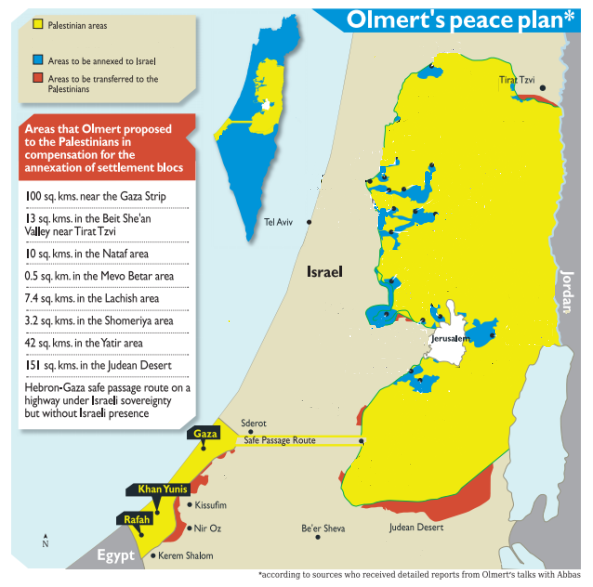 The unbelievable offer that  Olmert made to Abbas back in 2008. The Palestinians would have received virtually everything they supposedly demand.